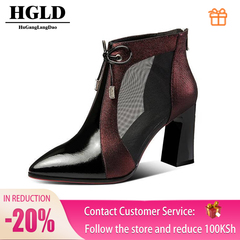 HGLD Women high heels summer fall autumn boots Sexy fashion quality leather Pointed sandals shoes Wine red 35