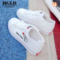 HGLD woman shoes autumn summer winter court sport running Walk canvas athletic Leisure sneakers high white 34