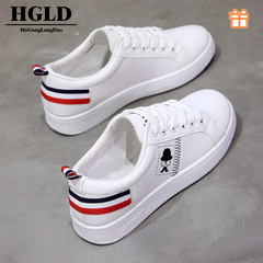HGLD woman shoes autumn summer winter court sport running Walk canvas athletic Leisure sneakers high white 35