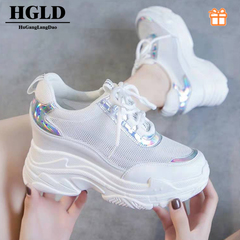 HGLD woman shoes autumn summer court sport running Walk boots canvas athletic Leisure sneakers high Silver 35