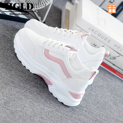HGLD woman shoes autumn winter court sport running Walk boots canvas athletic Leisure sneakers high pink 35