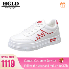 HGLD woman shoes autumn summer winter court sport running Walk canvas athletic Leisure sneakers high .red 35