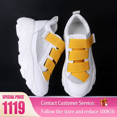 HGLD woman shoes autumn summer winter court sport running Walk canvas athletic Leisure sneakers high yellow 35