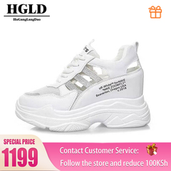 HGLD woman shoes autumn summer winter court sport running Walk canvas athletic Leisure sneakers high silver 35