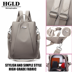 HGLD women backpack simple fashion youth student travel handbag waterproof high quality fabric Khaki. one size