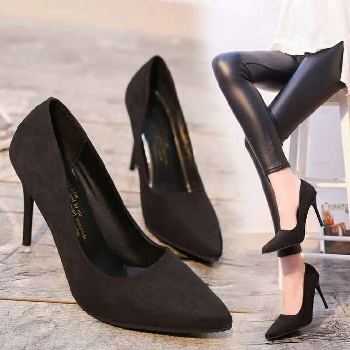 HGLD Women high heels summer autumn sexy fashion stiletto high quality pointed working womam shoes -black 34