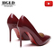 HGLD Women high heels summer party dinner work quality fashion sexy stiletto woman shoes wine red 35