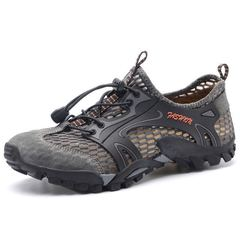 Men sandals hiking rock climbing long distance trekking  leisure genuine quality leather man shoes gray 38