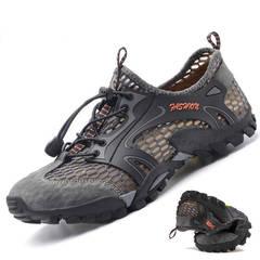 Men sandals hiking rock climbing long distance trekking  leisure genuine quality leather man shoes gray 39