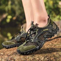 Men sandals hiking rock climbing long distance trekking  leisure genuine quality leather man shoes army green 38