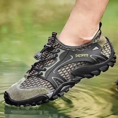 Men sandals hiking rock climbing long distance trekking  leisure genuine quality leather man shoes green 39