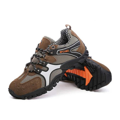Men hiking rock climbing sports non-slip quality authentic casual leather sneakers man shoes brown 39