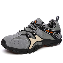 Men hiking rock climbing sports non-slip quality authentic casual leather sneakers man shoes gray 39
