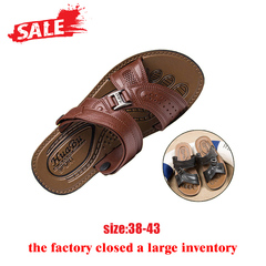 Men slippers sandals summer casual walking fashion quality rubber soles man shoes brown. 39