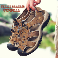 Men sandals slippers summer non-slip strong leather travel rock climbing hiking casual mam shoes brown. 38