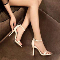 Women high heels  simple open toe fashion sexy work shopping nightclubs parties dinner woman shoes white(6cm) 34