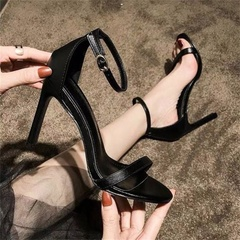 Women high heels  simple open toe fashion sexy work shopping nightclubs parties dinner woman shoes black(6cm) 34