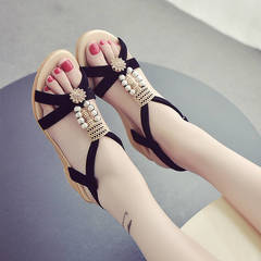 Bohemian summer new women's wedge sandals female flat bottom female student shoes thick bottom black(5cm) 34