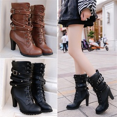 Women boots zippers rivets chunky heel boots high heel laces Martin boots large size woman shoes brown(10cm) 34