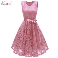 HGLD Women dresses dinners high-quality lace dresses evening dresses mid-length dresses sleeveless s pink