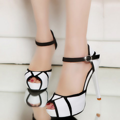 Fashion party summer black and white waterproof platform open toe high heels,  quality women shoes style one 34