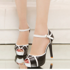 Fashion party summer black and white waterproof platform open toe high heels,  quality women shoes style two 41