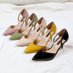 Women high heels pointed stilettos comfort work formal occasions parties quality women shoes style one(yellow) 34