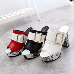 HGLD Sandals women, fish mouth handmade fashion thick heels, fairy wind beach slippers black 35