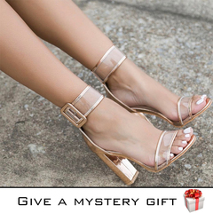 Large size women shoes high heels sandals a word belt thick heels simple fashion Party leisure style one 42