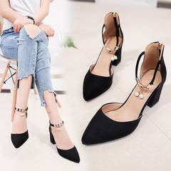 HGLD High heels thick heels pointed versatile stylish casual simple, high quality soles, women shoes .black 34