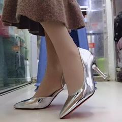 HGLD High heels stilettos pointed versatile stylish casual minimalist high quality PU women shoes silver(7cm) 34