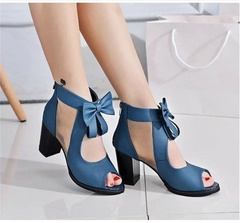 Women's high heels boots high quality PU fabric stylish open toe comfortable. Women's shoes blue(8cm) 35