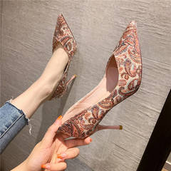 Women high heels pattern fashion pointed stiletto work casual high quality soles woman shoes style one(pink) 34