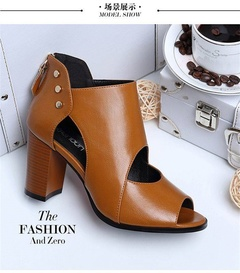 Large size women's shoes, boots, open toe, wild, casual, high quality, work party women High heels style one 35