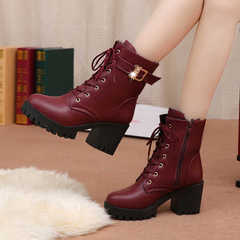 Women shoes Martin boots, leather boots, British style, plus velvet, cold, non-slip, high quality PU style one 36