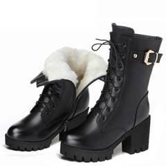 Women's shoes Martin boots plus velvet cold and warm high quality PU non-slip, rainy season, fashion style one(plus velvet) 35