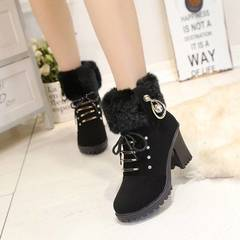 Women shoes Martin boots plus velvet cold and warm high quality PU non-slip, British points, fashion style one 35