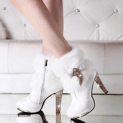 Shoes ladies shoes, warm high heels, boots, fluffy shoes, delicate diamonds, quality women's shoes style one(9cm) 35