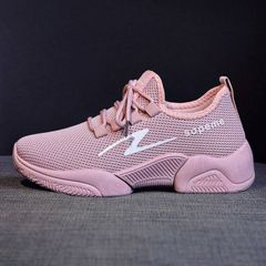 New genuine flying woven women's shoes breathable wild Harajuku running tide shoes sneakers pink 37