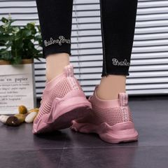 New genuine flying woven women's shoes breathable wild Harajuku running tide shoes sneakers pink 40
