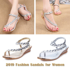 2019Women sandals summer high quality concise women wedge shoes crystal decor Bohemia sandals golden 38