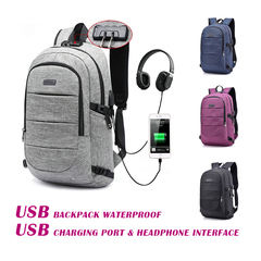 USB Backpack Waterproof Anti-theft 17-Inch Business Laptop Backpack USB Charging Headphone interface gray one size