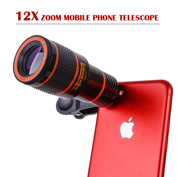 Universal 12X Zoom Mobile Phone Lens for Smartphones tablet Telephoto Clip Telescope Camera black 12X