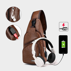 13.5-Inch Fashion Men's USB Bags USB Charging PU  Shoulder Chest pack Leisure, Business Bags brown 35x17x6cm