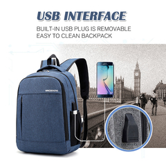 Fashion laptop backpack usb bag charging computer backpacks casual large business travel backpack blue 45x30x17