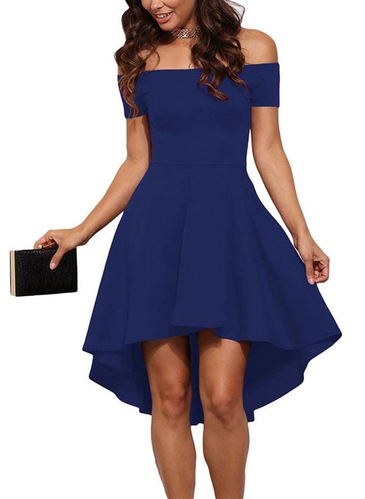 Strapless Shoulder Long Dress Off Shoulder Evening solid color evening dress Cocktail Party Skirt blue xl