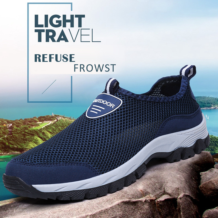 Men Hard-Wearing Sneakers Mesh Casual outdoor Shoes Non-slip shoes Summer Breathable Antiskid Shoes blue 41