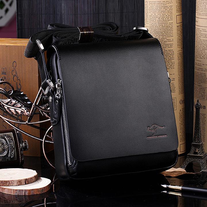 Real calfskin luxury Brand men's messenger bag Vintage leather shoulder bag Handsome bag handbags black vertical 19x17x7cm