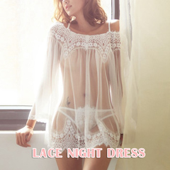 Mini Lace Night Dress Summer Nightgown Nightwear Bathrobe  Sleep Dress Night Gown Sleepwear Sexy white One size