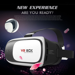 HOT Virtual Reality VR BOX 3D Glasses VR Helmet 3D Video Glasses+Bluetooth Gamepad one color Glasses white with handle High Definition Lens